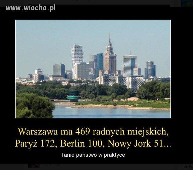 Warszawa ma więcej radnych niż Paryż  Berlin i...
