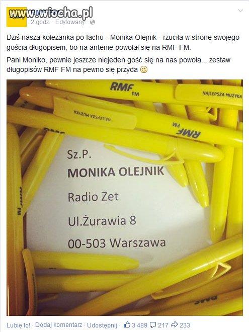 Kolejna wiocha dla Moniki Olejnik.