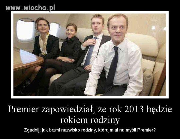 Premier: rok 2013 będzie rokiem rodziny.