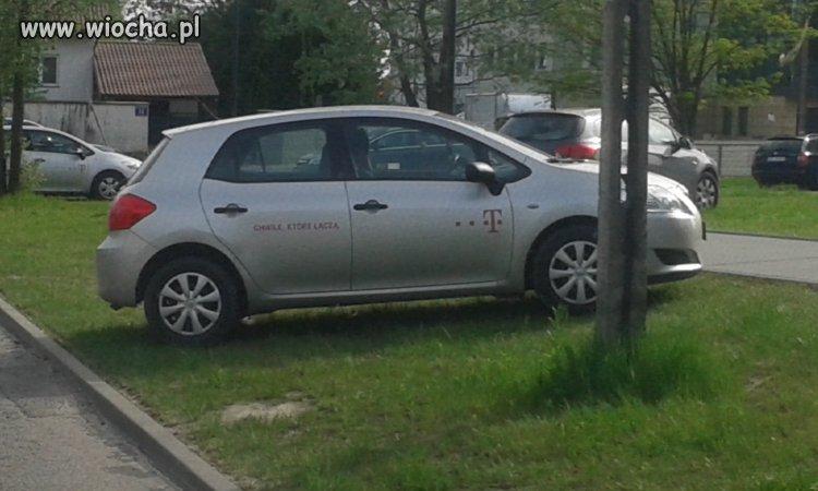 Takie tam parkowanie na trawniku