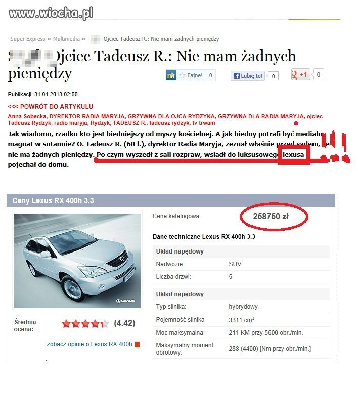 Tadeusz R. biedak jeżdżący ...LEXUSEM RX 400h