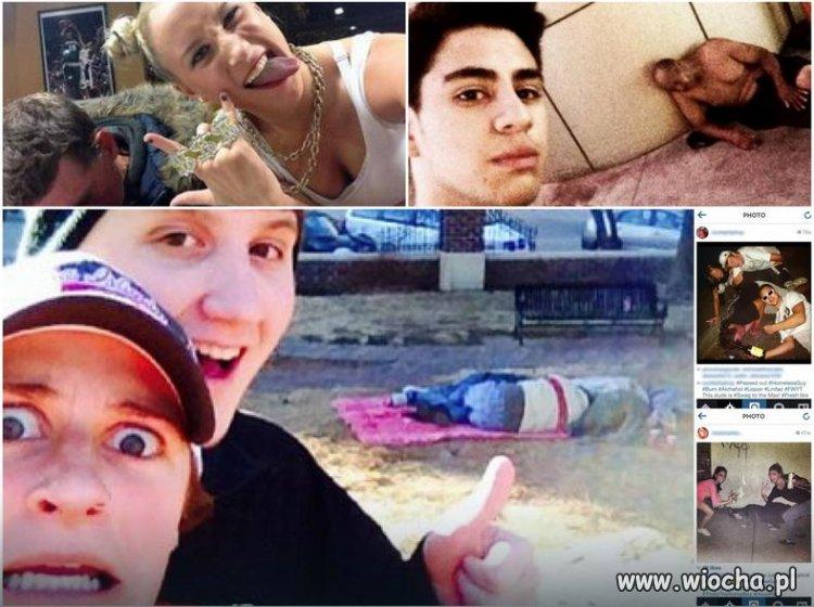 Nowo moda - selfie z bezdomnymi, symbol głupoty