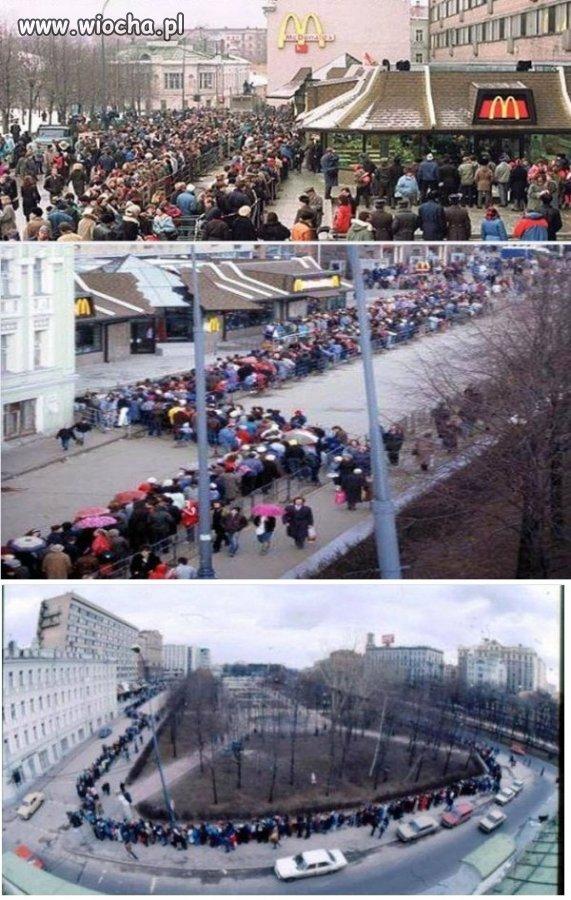 Rok 1990-otwarcie pierwszego McDonaldsa u ruskich.