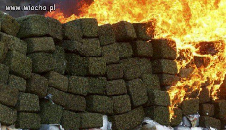 Pożar składu marihuany w Kolumbii