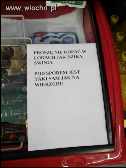 Kartka na lodówce w sklepie