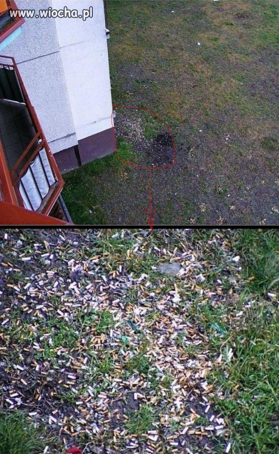 Sąsiad pali na balkonie