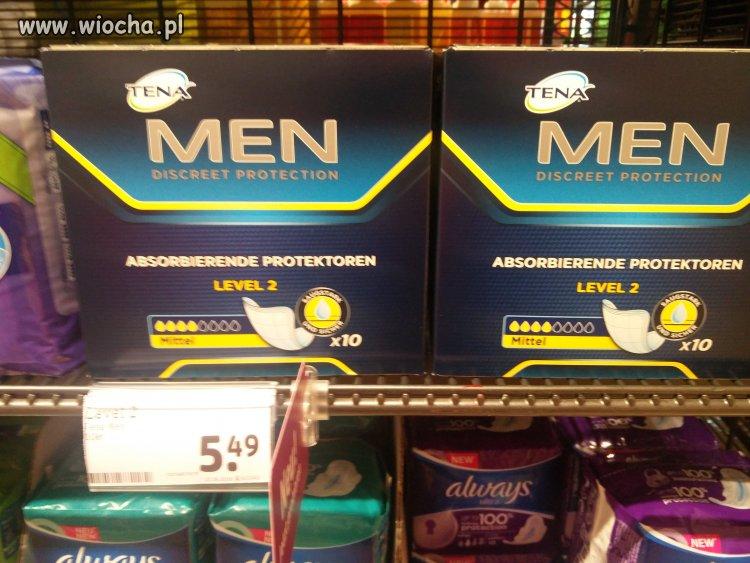 Wkładki dla mężczyzn w niemieckim sklepie