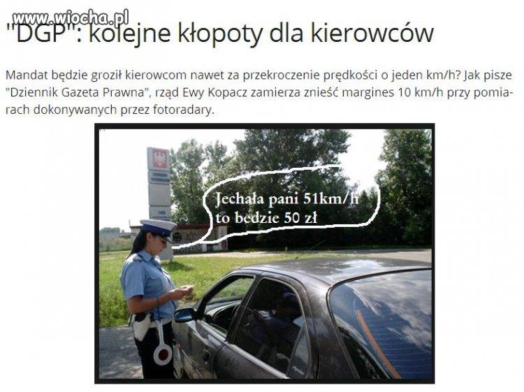 Mandat za przekroczenie prędkości o 1km/h