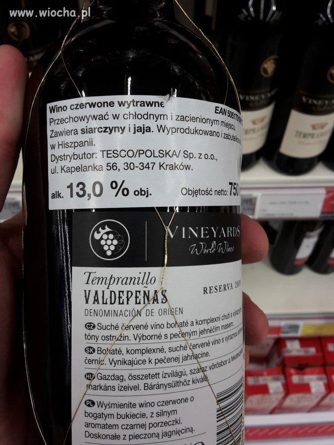 Wyśmienite wino czerwone o bogatym bukiecie -TESCO