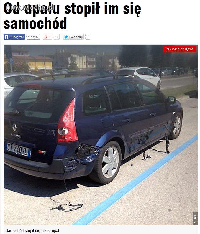 Samochód stopił się we Włoszech..