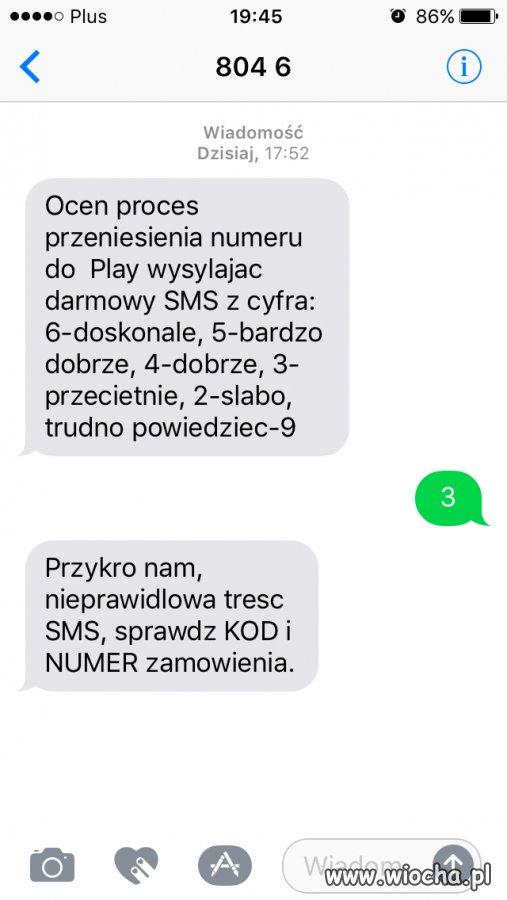 SMS z oceną usługi Play