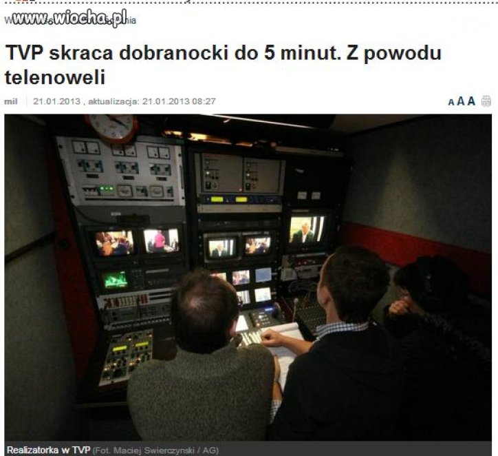 TVP skraca dobranocki do 5 minut...