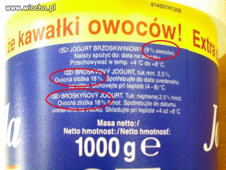 Jogurt z kawałkami owoców...