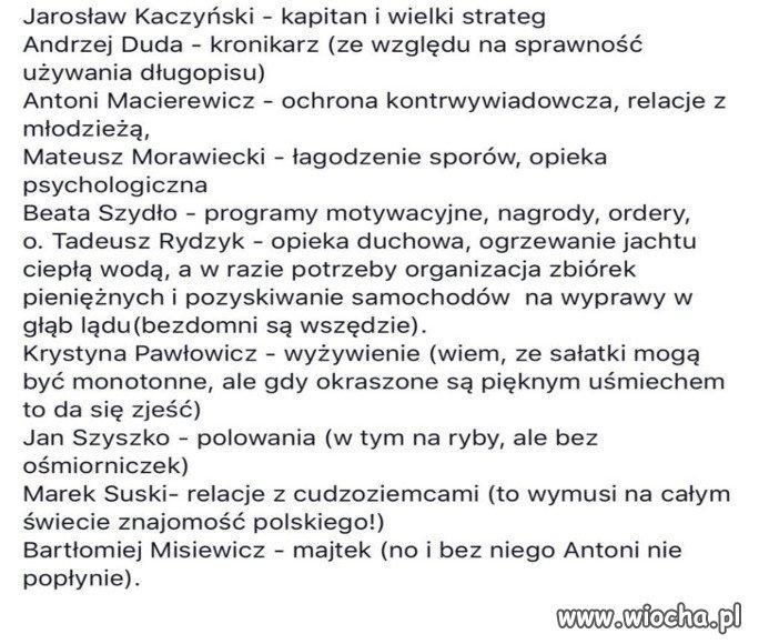 Rejs Polska 100, skład załogi