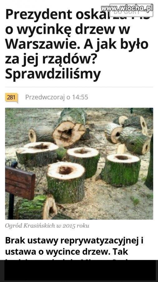 W latach 2009-2015 wycięto w Warszawie