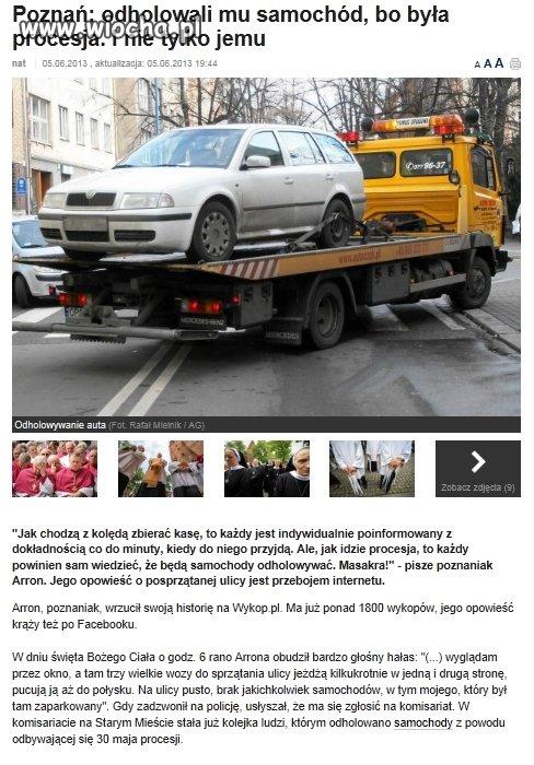 Odholowali samochód