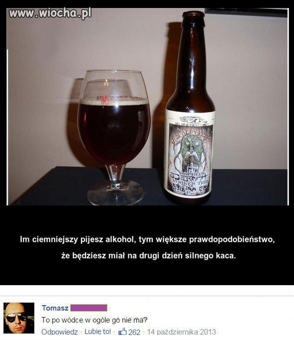 Kac po ciemnym alkoholu