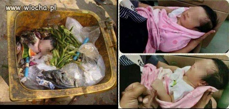 Żywe dziecko znalezione na śmietniku