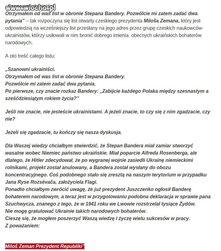 Miloš Zeman - pisze do obecnych władz Ukrainy