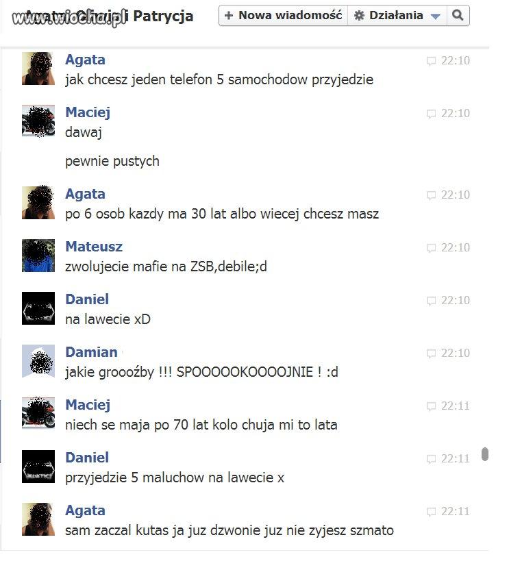 Groźby na fb. hahaha