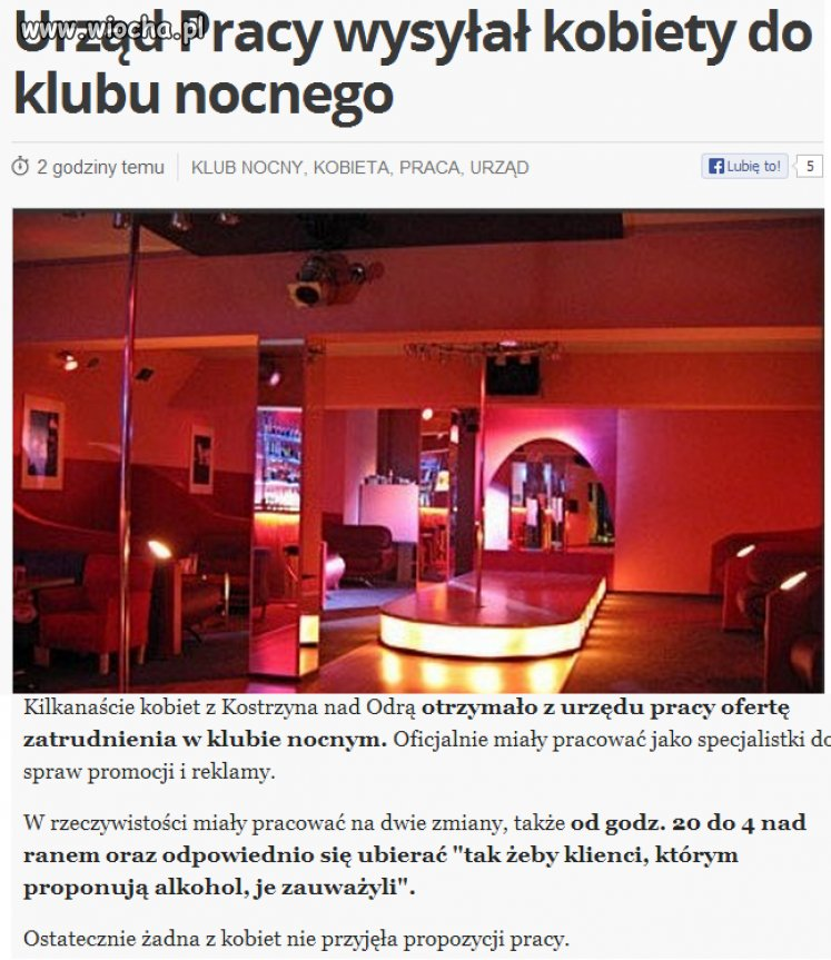 Urzd Pracy wysya kobiety do Klubu Nocnego...