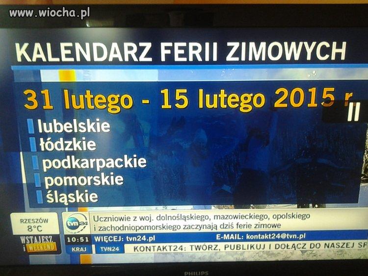 Bardzo fajny kalendarz ferii na TVN24