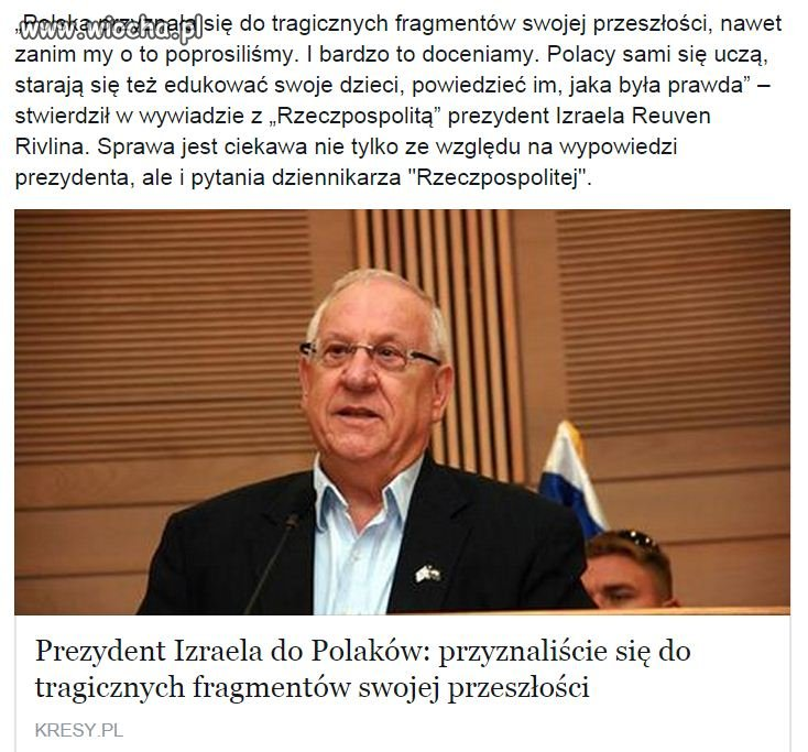 Prezydent Izraela o Polsce