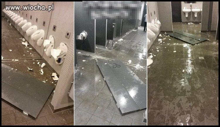 Niemcy po porażce dewastują toalety na narodowym