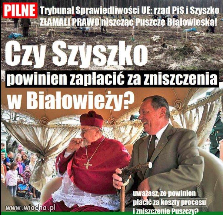 Trybunał orzekł że Szyszko złamał prawo...
