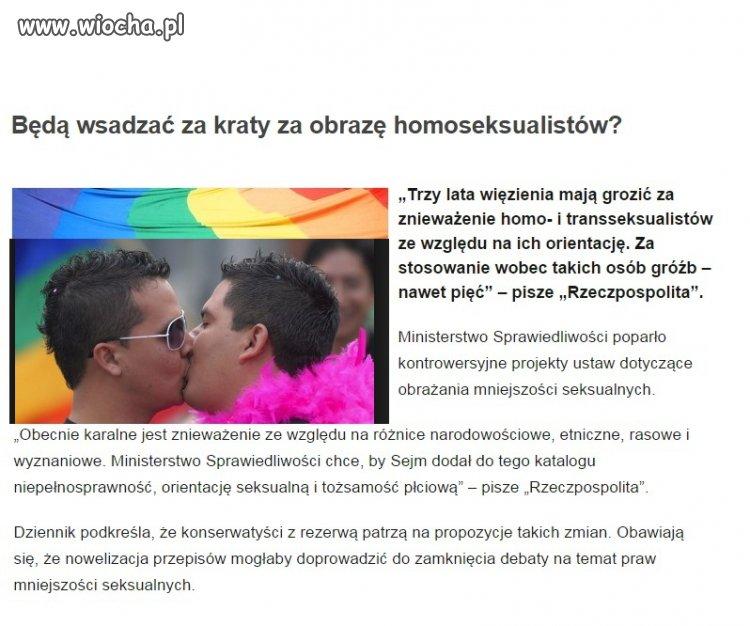 Będą wsadzać za kraty za obrazę homoseksualistów?