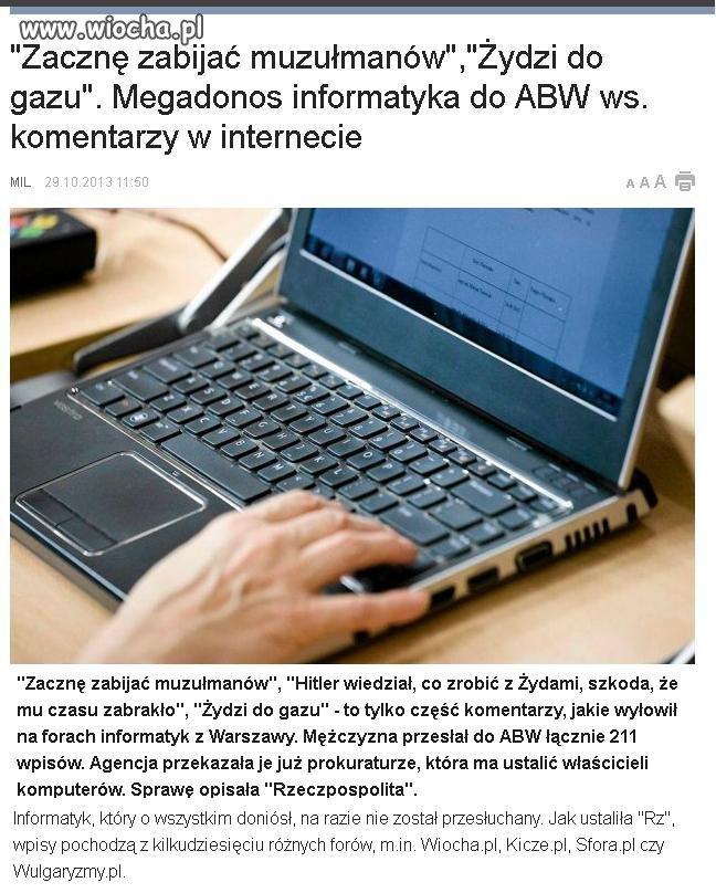 Wolność słowa w Polsce kończy się tam gdzie się...