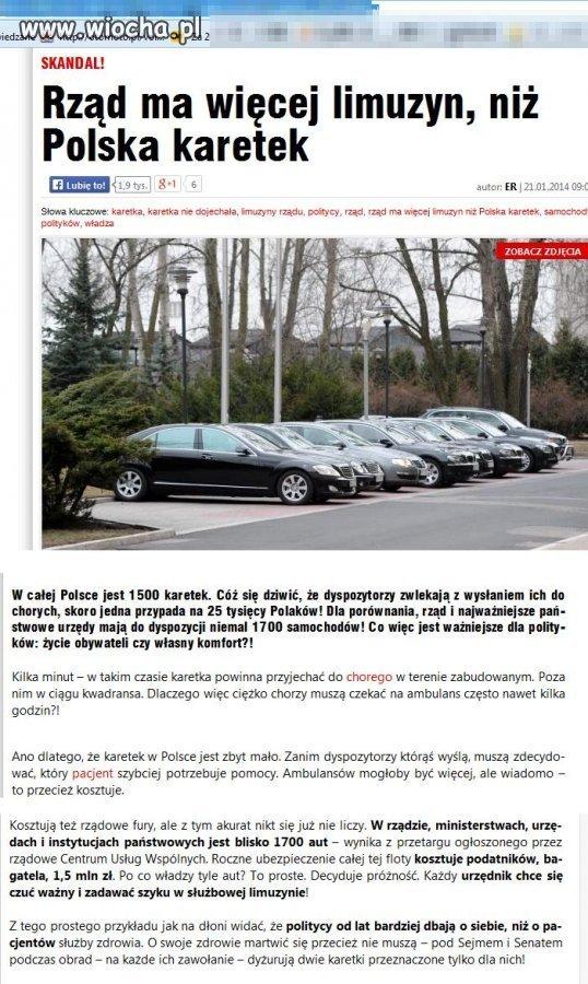 Rządowych aut więcej niż karetek