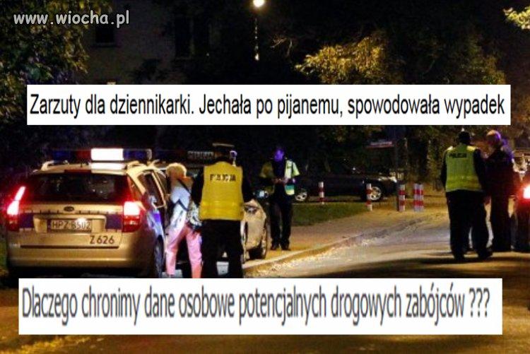 Dziennikarka telewizyjna spowodowała wypadek i uciekła.
