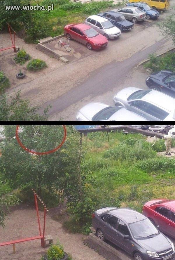 Sąsiad postawił rower na miejscu dla samochodu