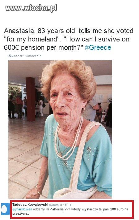 W Grecji emerytura 600 euro skandalicznie mała