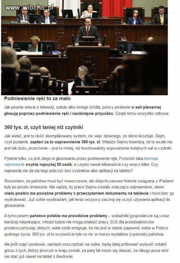 Sejm kupuje aplikację do głosowania za 360 000 zł
