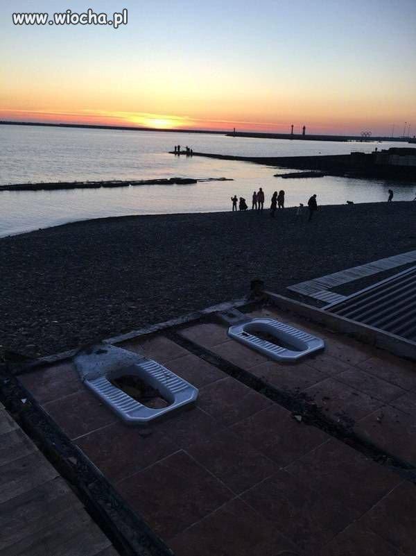 Turecki toalety przy plaży