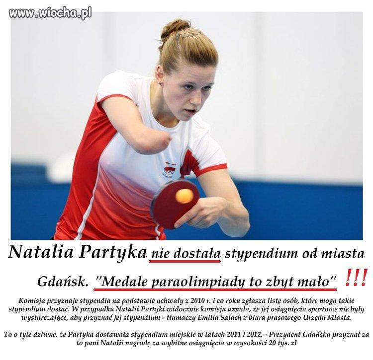 Natalia Partyka nie dostała stypendium od miasta...
