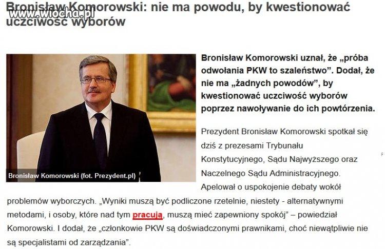 Komoruski akceptuje wyniki wybor�w