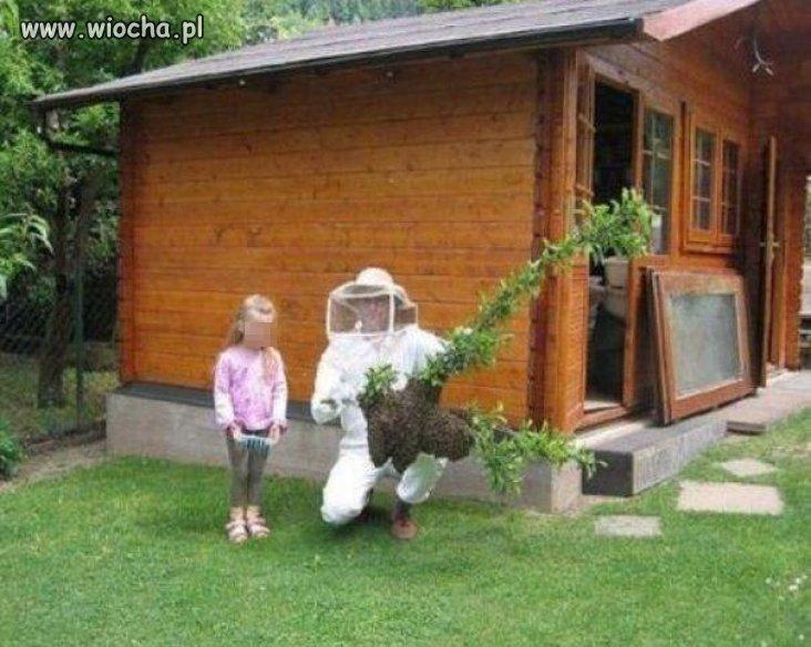 Przed rojem pszczół sam siebie ochrania...
