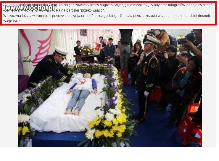 Chińska studentka zorganizowała własny pogrzeb