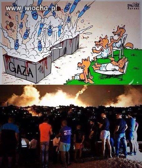 Izraelczycy ogladają bombardowanie gazy
