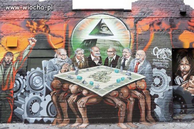 """""""New World Order"""", malarz Mear One w Londynie"""