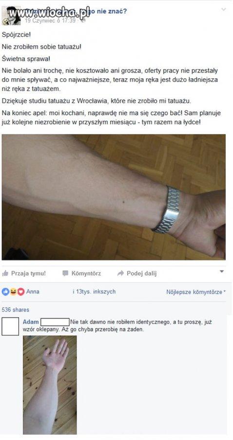 Nie zrobiony tatuaż