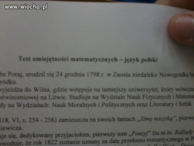Test matematyczny na języku polskim