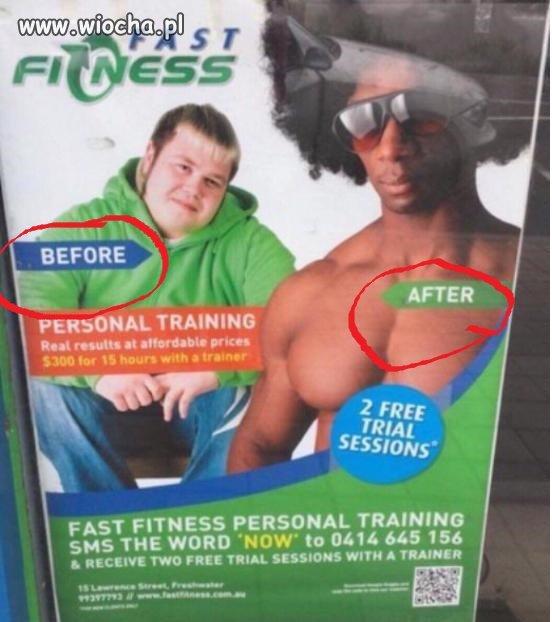 Przed treningiem i po treningu i widoczna różnica