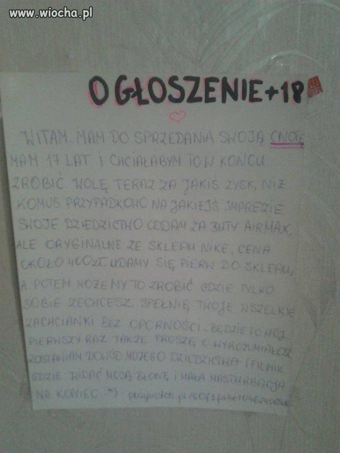Ogłoszenie polskiej nastolatki