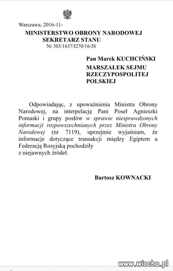 Oficjalna odp. MON w temacie Mistrali