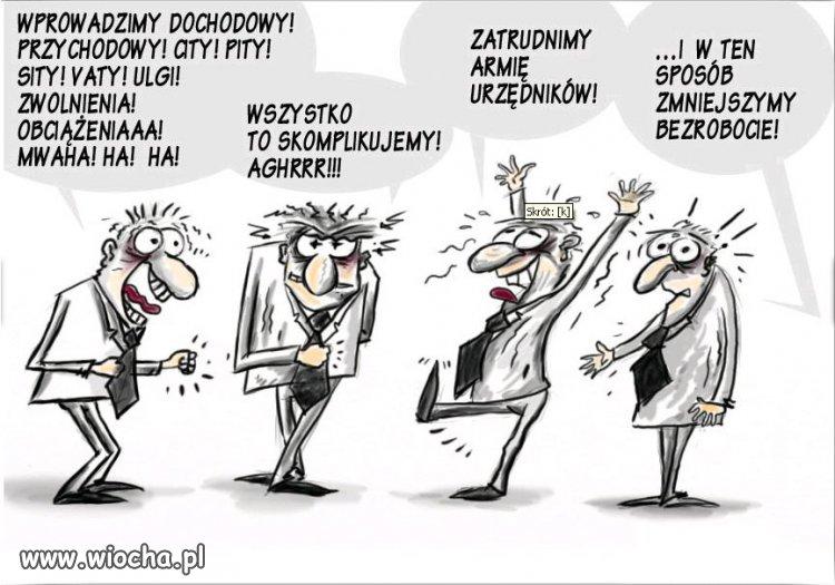 Zmniejszanie bezrobocia w polskim stylu.