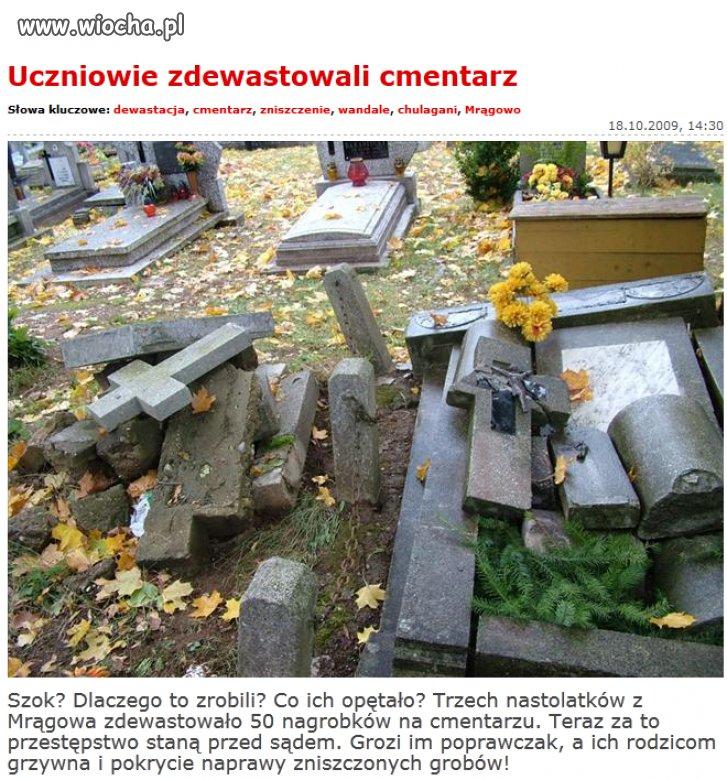 Uczniowie zdewastowali cmentarz